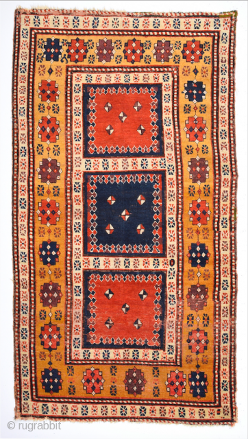 Rare Example ! An Unusual Caucasian Rug Circa 1830s or little more early Size 110 x 200 cm It has nice deep colors.
