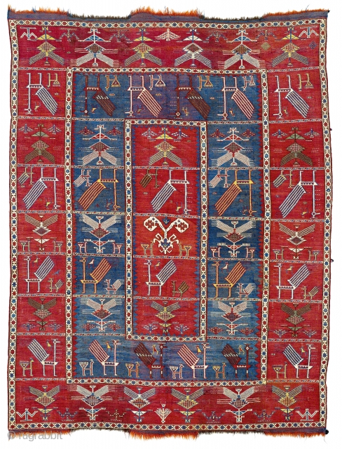 """Middle of 19th Century South East Caucasian, Azerbaijan Baku Zili Shaddas Formerly described as animal vernehs or a shaddas (the Persian word for """"cover""""), Caucasian flatweaves of this kind are now called  ..."""