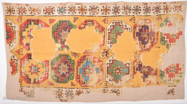 An Unusual Early 18th Century Anatolian Probably Konya Area Fragment Size 110 x 195 Cm.It Has Perfect Colors.Already Cleaned And Mounted Professionally
