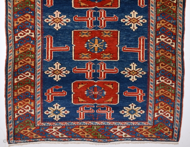 19th Century Schirvan Karagasli Rug.It Has Perfect Pile And Happy Colors Untouched One Size 115 x 150 Cm