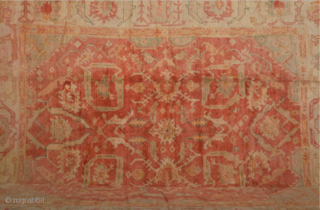 1880s Turkish Ushak Rug Large Size 305 x 390 cm It's in perfect condition and all the colors are natural.