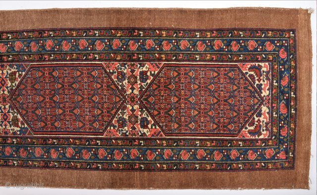 Untocuhed 19th Century Persian Sarap Runner Size 106 x 380 Cm this Carpet was exported from Iran before 2015 All the colors are naturel and all the knots are original.Camel field ground and  ...