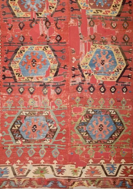 Early 19th Century Unusual Central Anatolian Probably Aksaray Area Kilim Size 150 x 260 Cm Already Mounted Professionally