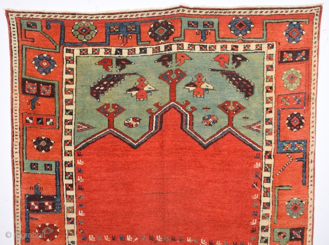 Early 19th Century Konya Ladik Rare Rug.It's in Really Good Condition.It Has Unusual Border.Size 110 x 153 Cm