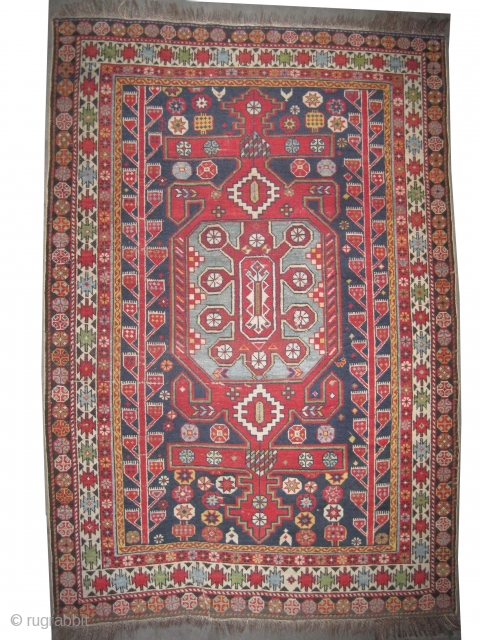 "Shirvan Caucasian circa 1910 antique. Size: 163 x 112 (cm) 5' 4"" x 3' 8""  carpet ID: K-3757