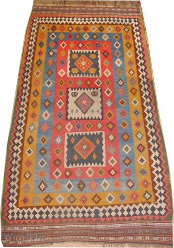 "Qashqai Kelim Persian circa 1905 antique, collector's item, Size: 276 x 146 (cm) 9' 1"" x 4' 9""  carpet ID: A-1179