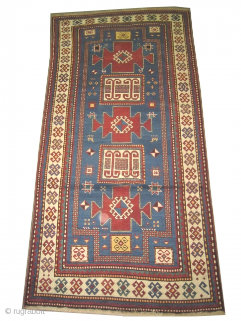 """Karatchop-Kazak Caucasian double prayer, knotted circa in 1890 antique, collector's item, 255 x 120 (cm) 8' 4"""" x 3' 11""""  carpet ID: K-4729 The background color is sky blue, the surrounded large  ..."""