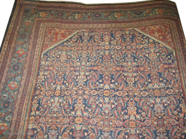 """Mahal Persian knotted circa in 1918 antique, 403 x 305 (cm) 13' 3"""" x 10'  carpet ID: P-5108 Navy blue background, the knots are hand spun wool, allover Herati design surrounding with  ..."""