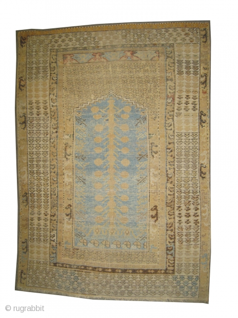 "Kula prayer Anatolian circa 18th century antique. Collector's item, Size: 150 x 106 (cm) 4' 11"" x 3' 6""  carpet ID: K-5263