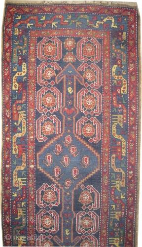 "Shahsavan Persian circa 1910 antique. Size: 407 x 90 (cm) 13' 4"" x 2' 11""  carpet ID: K-5682 the black color is oxidized, the knots are hand spun wool, geometric design, the  ..."
