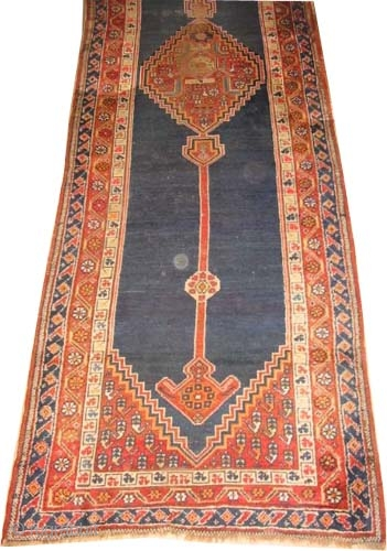 """Persian circa 1890 antique.  Size: 450 x 116 (cm) 14' 9"""" x 3' 10""""  carpet ID: P-2229 The black color is oxidized, the knots are hand spun wool, the background  ..."""
