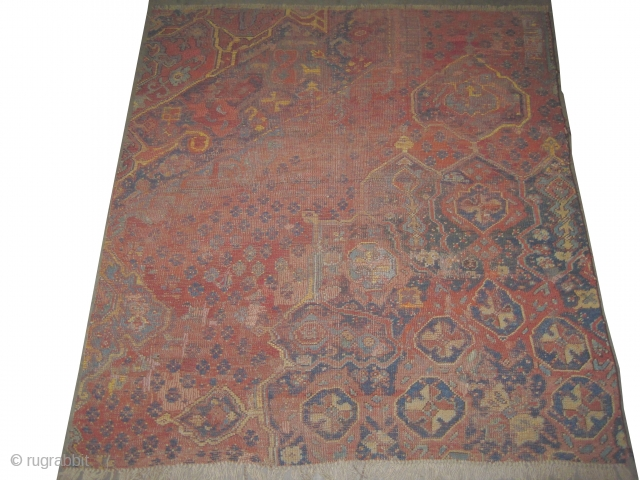 "Ushak Turkish. Fragment circa 18th century antique. collector's item. Size: 250 x 219 (cm) 8' 2"" x 7' 2""  carpet ID: P-5027