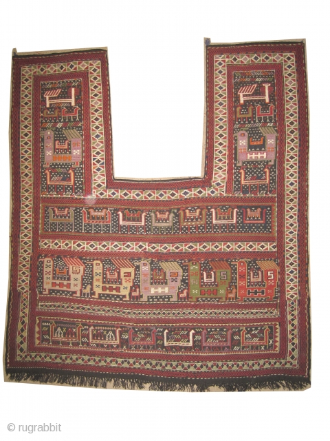 """Vernneh Horse cover Caucasian woven circa in 1910 antique, collector's item, 151 x 141 (cm) 4' 11"""" x 4' 7""""  carpet ID: A-66 In perfect condition, woven with hand spun wool with  ..."""