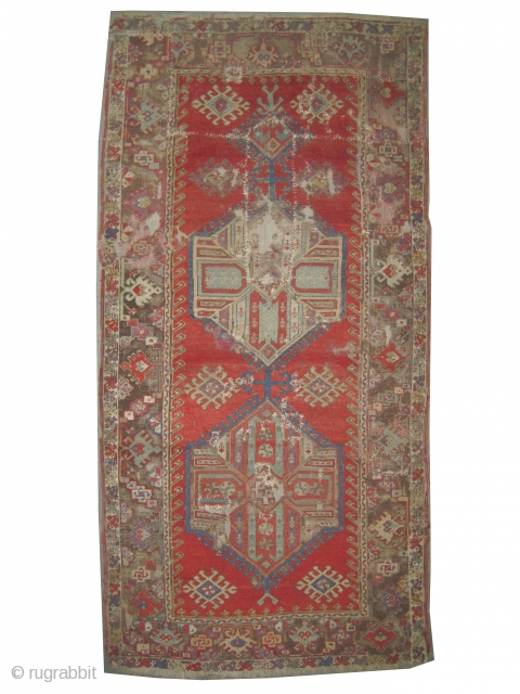 """Anatoilan rug, antique. Collector's item, Size: 232 x 115 (cm) 7' 7"""" x 3' 9""""  carpet ID: K-1316 Poor condition, the black colour is oxidized, the knots are hand spun wool, the  ..."""