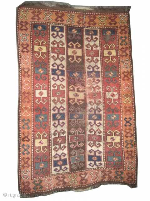 """East Anatolian, 19th century, antique. Collector's item, Size: 195 x 127 (cm) 6' 5"""" x 4' 2""""  carpet ID: K-4875 The brown color is oxidized, the knots are hand spun wool, the  ..."""
