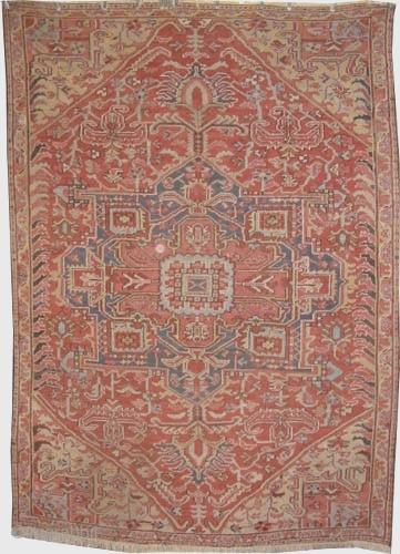 "Serapi Heriz Persian circa 1895 antique, Size: 288 x 205 (cm) 9' 5"" x 6' 9""  carpet ID: P-4998  The black color is oxidized, the knots are hand spun  ..."