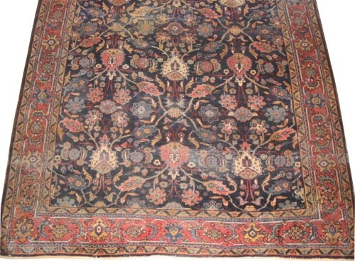 """Mahal Persian circa 1915 antique, Size: 304 x 210 (cm) 10'  x 6' 11""""  carpet ID: P-5153 The black color is oxidized, the knots are hand spun lamb wool, down edge  ..."""