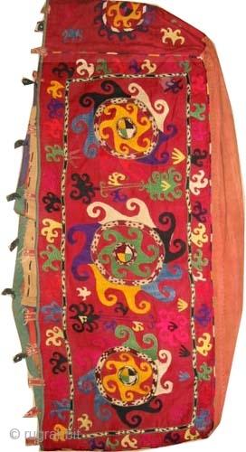 "Mafrash Uzbek Suzani circa 1925, old. Collector's item, Size: 137 x 40 (cm) 4' 6"" x 1' 4""  carpet ID: A-1225 The mafrash is woven on red stuff with hand spun wool,  ..."