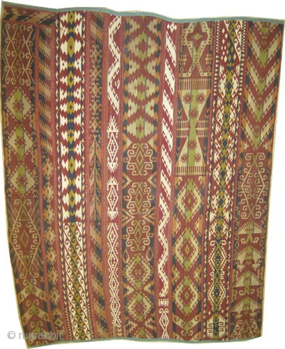 """Northern Afghanistan Uzbek Gizlai flatwoven band fragment (almost half of the original) circa 1915 antique.  CarpetID: SA-546, Size: 196 x 155 (cm) 6' 5"""" x 5' 1""""  Woven with very fine hand  ..."""
