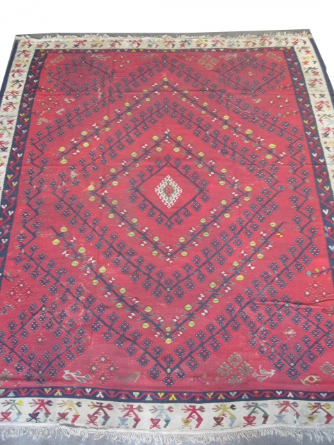 "Sharkoy Turkish kilim circa 1905 antique. Collectors item, Size: 328 x 282 (cm) 10' 9"" x 9' 3""  carpet ID: A-436