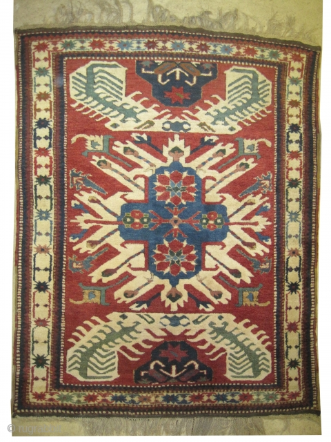 "Tchelaberd Dragon Caucasian circa 1915 antique. Collector's item. Size: 170 x 140 (cm) 5' 7"" x 4' 7""  carpet ID: K-3308