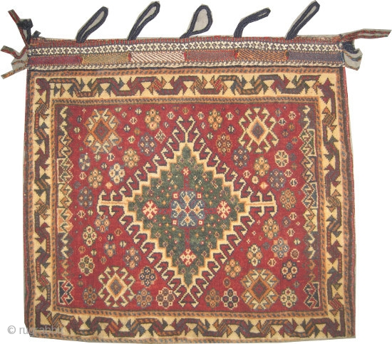 """Qashqai Persian circa 1920 semi antique, collector's item, Size: 61 x 57 (cm) 2'  x 1' 10""""  carpet ID: K-5106 Perfect condition, the back side covered kelim is original, the background  ..."""