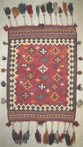 """Qashqai Persian kilim circa 1915 antique, collector's item, Size: 107 x 76 (cm) 3' 6"""" x 2' 6""""  carpet ID: LM-8 Woven with hand spun 100% wool, surrounded with tassels, both faces  ..."""