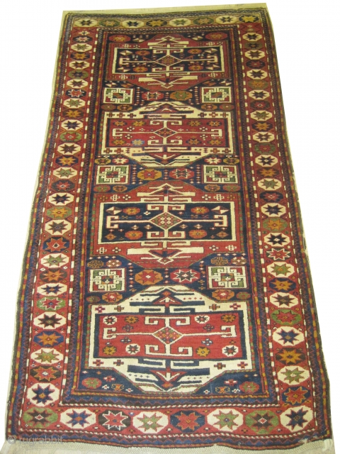 """Karatchoph Caucasian knotted circa in 1900, antique, collector's item, 235 x 127 (cm) 7' 8"""" x 4' 2""""  carpet ID: H-299 The knots, the warp and the weft threads are hand spun  ..."""