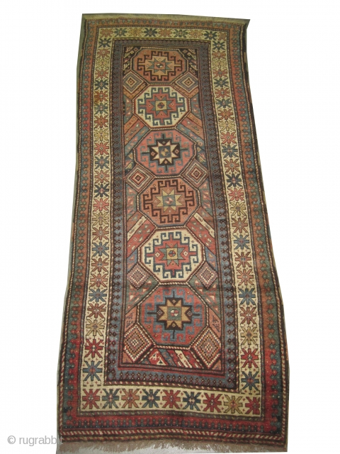 """Gendja Caucasian knotted circa in 1905 antique, collector's item, 265 x 104 (cm) 8' 8"""" x 3' 5""""  carpet ID: K-3275 High pile, in good condition, geometric design decorated with animals, the  ..."""