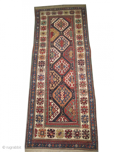 """Gendja Caucasian knotted circa in 1900 antique, collector's item. 258 x 98 (cm) 8' 6"""" x 3' 3""""  carpet ID: K-3769 High pile, in good condition, soft, both edges are already  ..."""