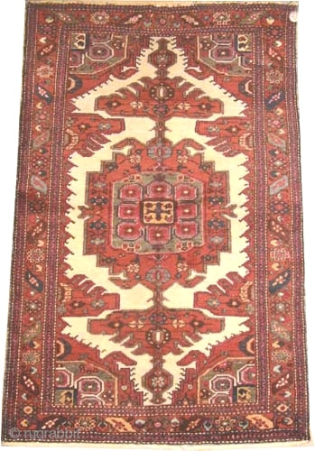 """Meshgin Persian circa 1920 semi antique. Size: 200 x 128 (cm) 6' 7"""" x 4' 2""""  carept ID: K-2940 The center medallions and the four corners are combined with green and rust,  ..."""