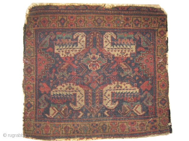 """Shiraz Khamse Persian circa 1910 antique. Collector's item, Size: 55 x 50 (cm) 1' 10"""" x 1' 8""""  carpet ID: K-3205 The pile is uniformly short, the background is indigo designed with  ..."""