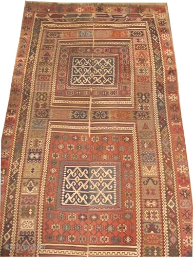 "Anatolian Rihanli Kelim circa 1865 antique. Collector's item, Size: 397 x 160 (cm) 13'  x 5' 3""  carpet ID: A-1107
