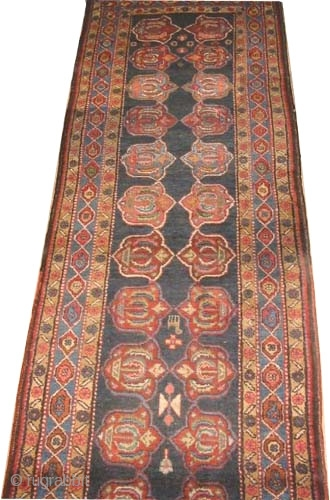 """Shahsavan Persian, old. Size: 452 x 95 (cm) 14' 10"""" x 3' 1""""  carpet ID: K-2868 High pile, good condition, the background color is indigo, all over geometric rare design, fine knotted  ..."""