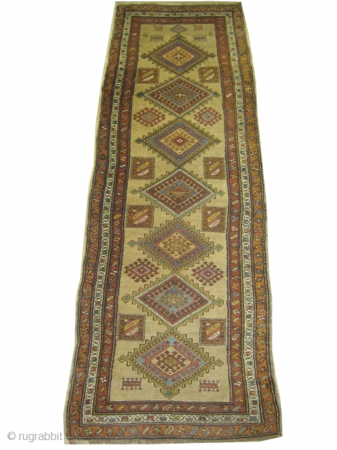 """Serap Persian knotted circa in 1900 antique, 292 x 103 (cm) 9' 7"""" x 3' 5"""" carpet ID: k-2379  The warp and the weft threads are hand spun lamb wool, the background  ..."""