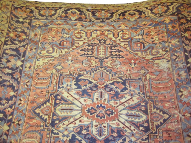 """Serapi-Heriz Persian knotted circa in 1885 antique, 345 x 277 (cm) 11' 4"""" x 9' 1""""  carpet ID: P-3187 The black color is oxidized, certain places the pile is slightly short, in  ..."""