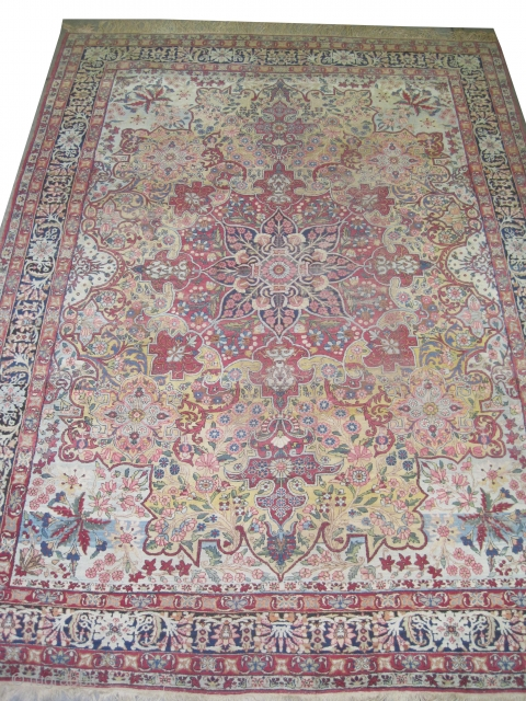 """Kirman Lavar Persian knotted circa in 1915 antique,  378 x 282 (cm) 12' 5"""" x 9' 3""""   carpet ID: P-5339 The background color is pale yellow, the center medallion is indigo  ..."""