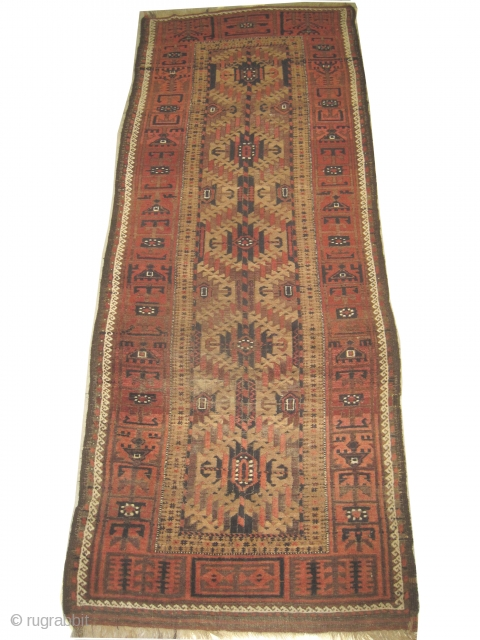 Belutch Persian circa 1910 antique, size: 105 x 275cm, carpet ID: ES-3 Geometric design, five medallions, rare example, good condition except some oxidized used places to be repaired, camel hair background.