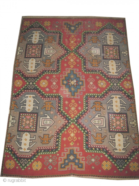 """Swedish needle point, embroidered circa in 1925, old,  263 x 188 (cm) 8' 7"""" x 6' 2""""  carpet ID: A-634 Art Deco period, geometric design built with hand spun wool, in  ..."""