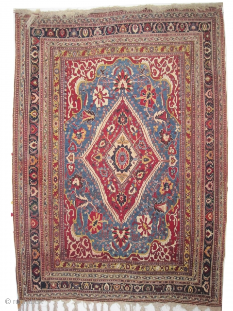 """Qashqai Persian knotted circa in 1910, antique, collector's item, 202 x 145 (cm) 6' 7"""" x 4' 9""""  carpet ID: K-580 The warp and the weft threads are hand spun lamb wool,  ..."""