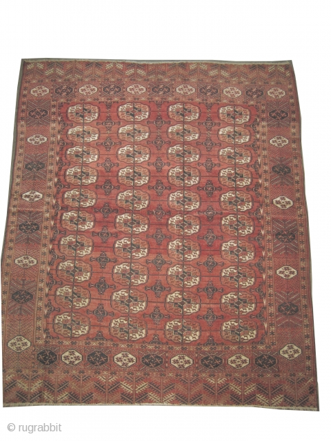 "Tekke Boukhara Turkmen, knotted circa in 1840, antique, collectors item, 224 x 188 (cm) 7' 4"" x 6' 2""  carpet ID: P-5124