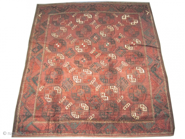 """Tschaudor Turkmen, knotted circa in 1800, antique, museum standard, collectors item. 242 x 222 (cm) 7' 11"""" x 7' 3""""  carpet ID: P-5665  The warp and the weft threads are mixed  ..."""