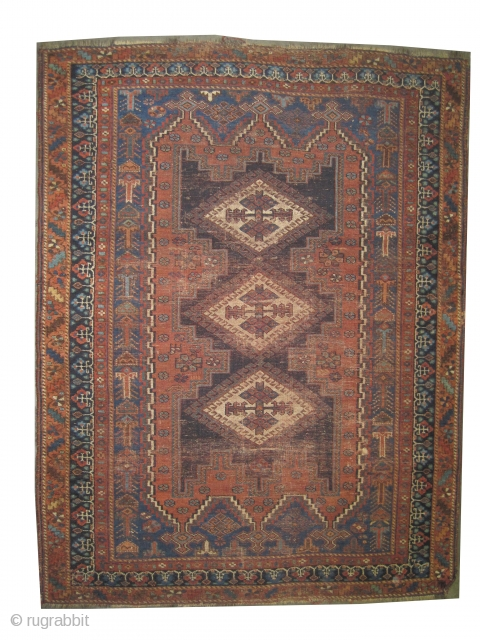 """Afshar Persian knotted circa in 1915 antique, 185 x 140 (cm) 6' 1"""" x 4' 7""""  carpet ID: K-5625 The black color is oxidized, the knots are hand spun wool, the warp  ..."""