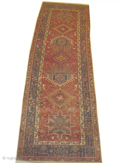 """Karadja runner Persian knotted circa in 1940  semi antique, 333 x 110 (cm) 10' 11"""" x 3' 7""""  carpet ID: SRO-19 The knots are hand spun wool, the black color is  ..."""
