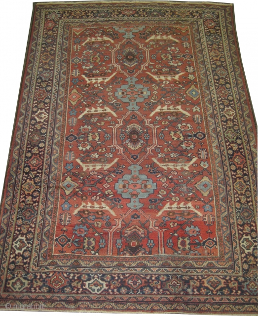 """Mahal Persian knotted circa in 1915 antique, 317 x 220 (cm) 10' 5"""" x 7' 3""""  carpet ID: P-5080 The knots are hand spun wool, the black knots are oxidized, the background  ..."""