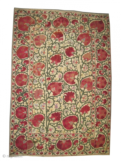 "Suzani Uzbek Dzhizak , antique. Size: 233 x 156 (cm) 7' 8"" x 5' 1"" carpet ID: A-1100 