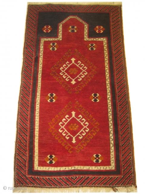 Anteb prayer Turkish rug, knotted circa in 1935 semi antique. 138 x 76cm,  carpet ID: BRDI-8 High pile in perfect condition, the shirazi borders are woven with special technique.