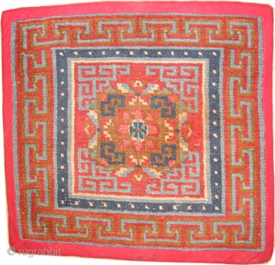"Tibetan rug antique. Collector's item. Size: 75 x 72 (cm) 2' 6"" x 2' 4"" carpet ID: K-5317 
