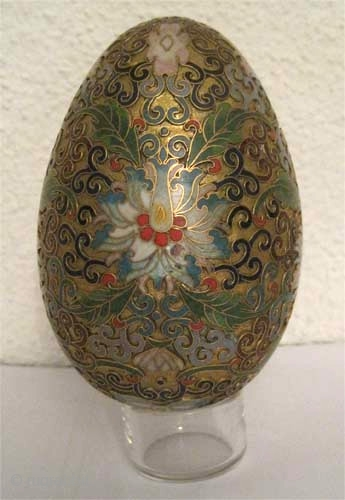 "Easter egg enameled, circa 1880 Antique. Collector's item, Size: 11 x 7 (cm) 4"" x 3"" FD-183  multicolored cloisonné, gold plated or pure gold?, perfect condition, 149g."