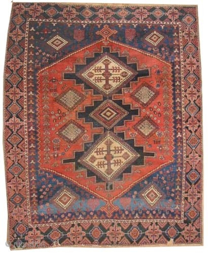 "Afshar Persian, circa 1905, antique. Collector's item, Size: 170 x 140 (cm) 5' 7"" x 4' 7""  carpet ID: K-5582 